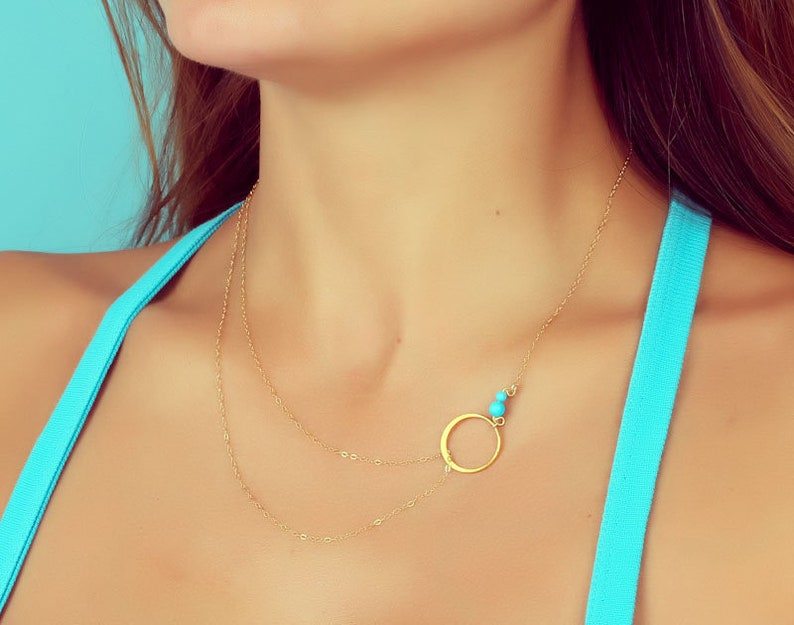 Bridal Jewelry 0063BN Layered Turquoise Necklace Mom Gift Double Strand Necklace Silver Circle Necklace Gold Layered Necklace