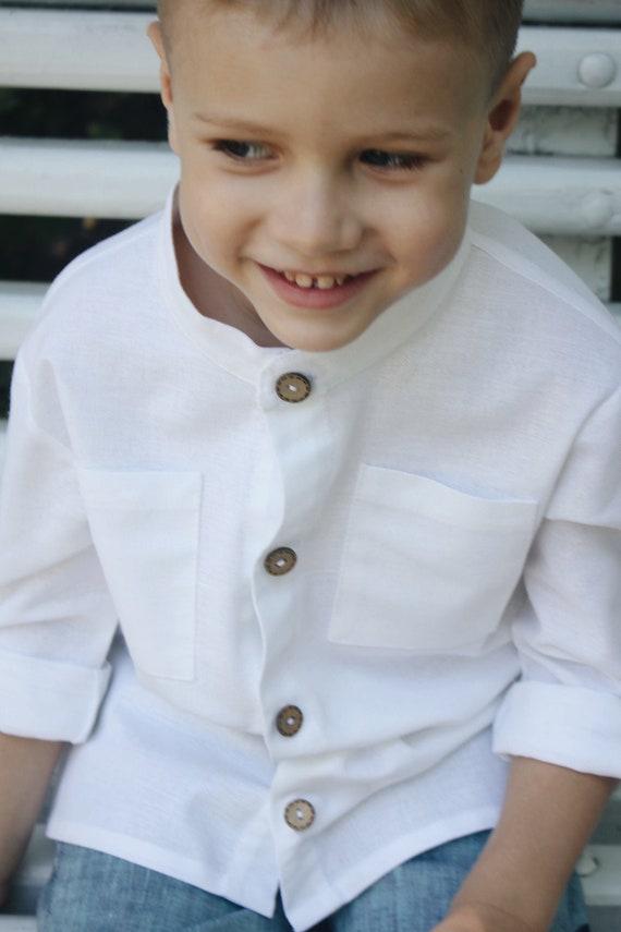 gift Birthday Linen clothes Linen Shirt Natural Linen Baby Linen embroidery clothes Linen Baby clothes White shirt Toddler shirt