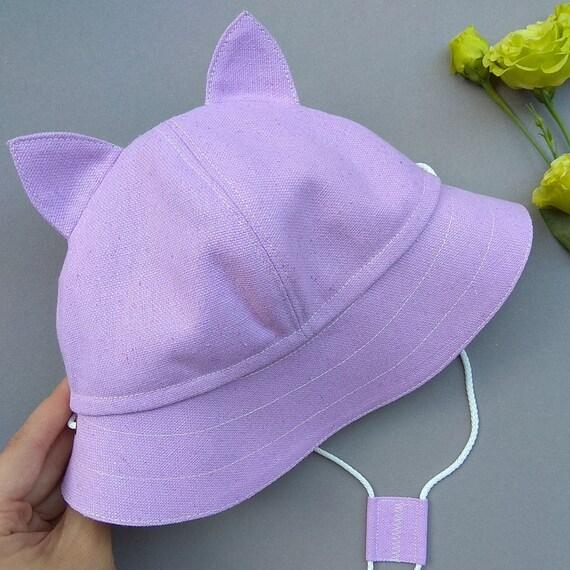 Purple kitty ear hat