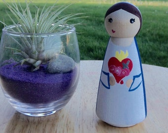 Immaculate Heart Mary Peg Doll Mary Peg Doll Catholic Toy Mary Doll Consecration to Immaculate Heart Catholic Gifts Catholic Mother Gift