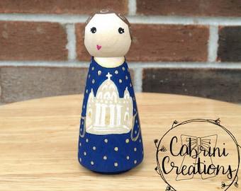 Mary, Mother of the Church Peg Doll Mary Peg Doll Saint Peg Dolls Catholic Gifts Catholic Toys Baptism Gifts