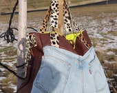 Flat As (Deconstructed Levi s and lambskin shoulder tote with cheetah print calfskin detail)