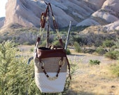 The Wanderer (Quilted lambskin and leather tote with burlap panel)