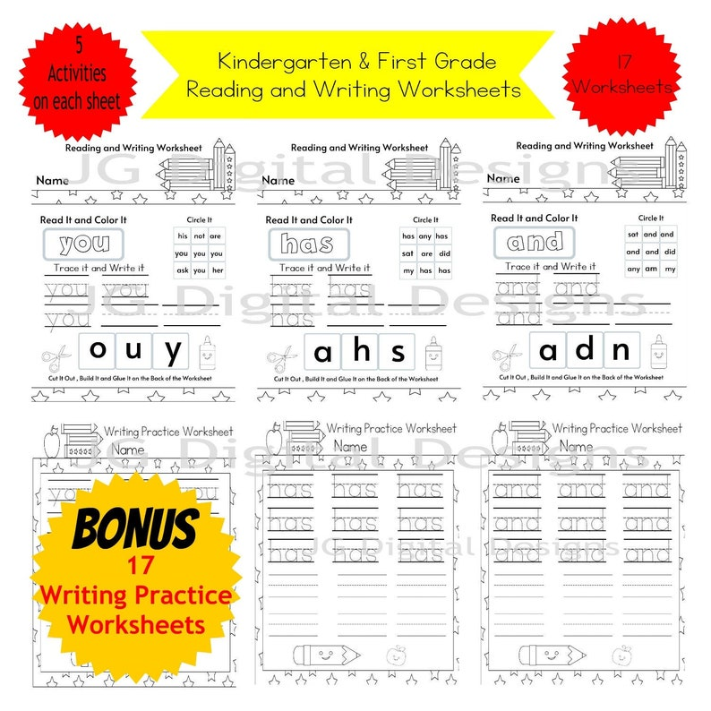 Sight Words Sight Word Activity Worksheets Extra Practice Etsy