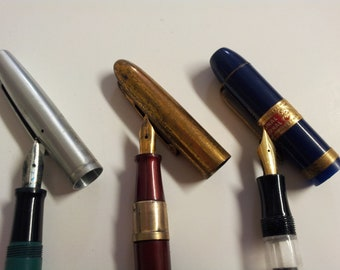 Vintage 3 x Fountain Ink Pens Lot Parts Repair 14k Gold Plated Nibs