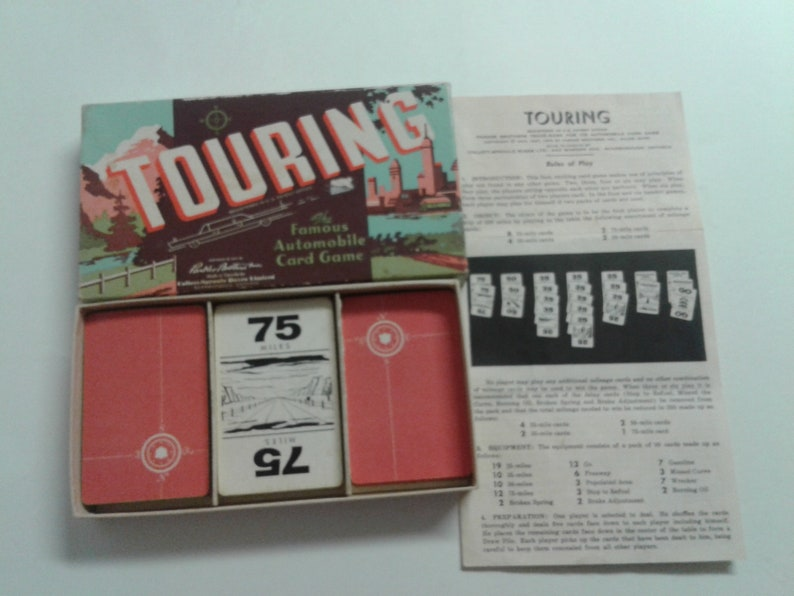 Mint TOURING The Famous Automobile Card Game Vintage 1940/'s Parker Brothers