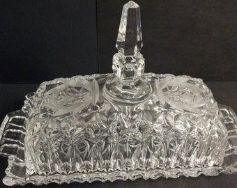 Vintage Lead Crystal Etched Covered Butter Dish