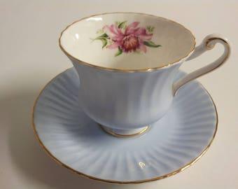 Paragon Pale Blue Floral Lily Tea Cup and Saucer Set