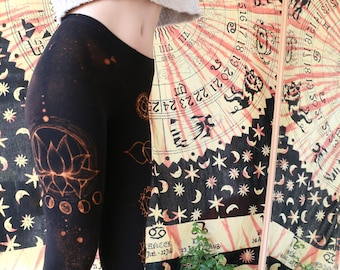 Bleach leggings with chakra and lotus pattern