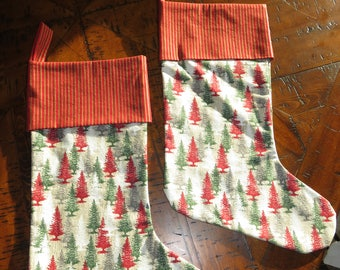 Red and Green Christmas Tree Stocking