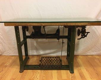 Vintage Industrial Singer Sewing Machine Table