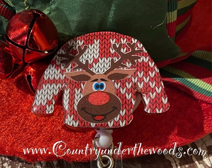 Christmas Theme Badge Reel, Reindeer, Red Nose Santa Hat Badge Reel, Retractable ID badge reel, Unique, alligator Clip, Personalize, Believe