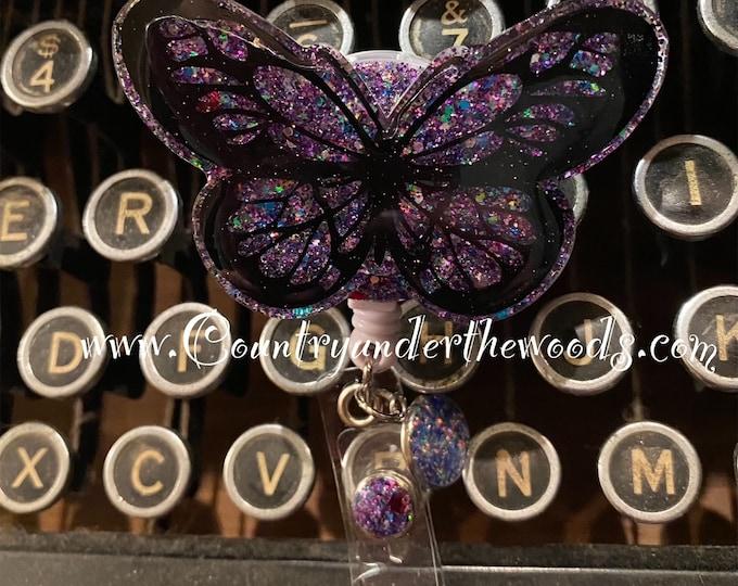 Butterfly Badge Reel , badge holder, badge reel,ID badge holder, Unqiue,Retractable badge reel, Aligator clip, Great Gift,Nurse badge reel
