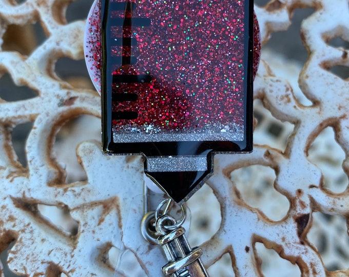Phlebotomist Badge Reel, Phlebotomist Key Chain, Made to order, personalization, Unique Gift, Medical badge reel, syringe badge reel