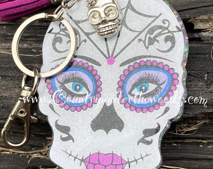 Sugar Skull Key chain and Badge reels, Keychain, Badge Reel, Handmade, Sugar Skull, Unique, Great Gift, Id badge reel, Halloween Badge reel