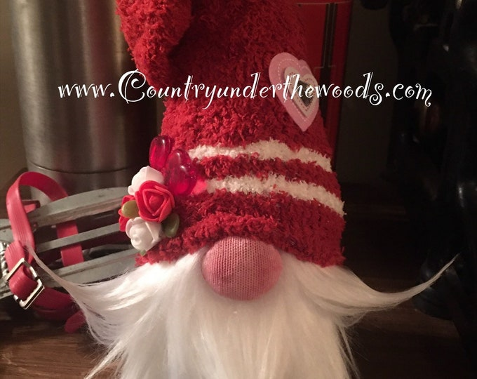 Valentine Gnomes, Sock  Gnome, Valentine Decor, Holiday Decor, Mantle Decor, Unique Gift, Handmade, Farmhouse decor,Made to order, Gnome