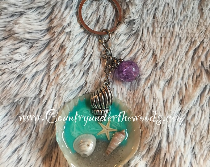 Seashell keychains, handmade, charms, ready to be shipped, purse bling