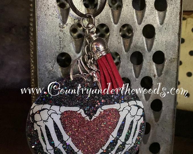 Halloween Keychains, Zombie's keychain, Keychains, Handmade, Unique Gift, great gift, Skeleton Heart Hands, Glitter Acrylic Keychain