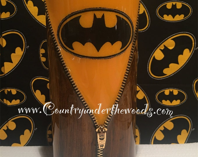 Wood Grain /Super Hero Tumbler, 7 Different Sizes to choose from, Made to Order,Personalized,Your Choose of super Hero,Zipper