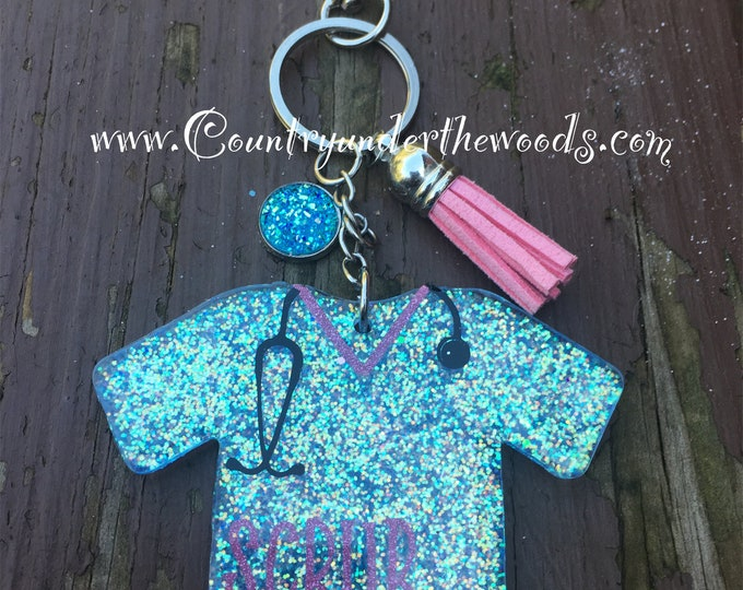 Scrub Life Key chains, Custom Made, Glitter, Great Gift, Handmade, Purse Bling