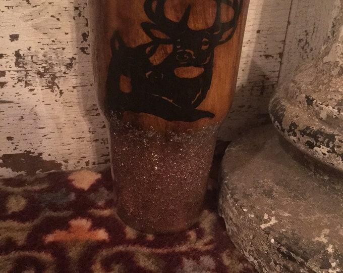 30oz Wood Grain Tumbler/womens/ hunting/glitter/wood grain/5 sizes/handmade/The Couple that hunts together stay together