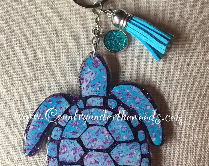 Sea Turtle Keychain, purse bling, unique gift, hard to buy for person, handmade,Acrylic 3inch keychain