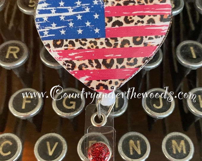 New 2021 Badge Reel, American Themed Badge Reels, American Heart with leopard Prints, American Dog Paw  Alligator clip, Free Shipping