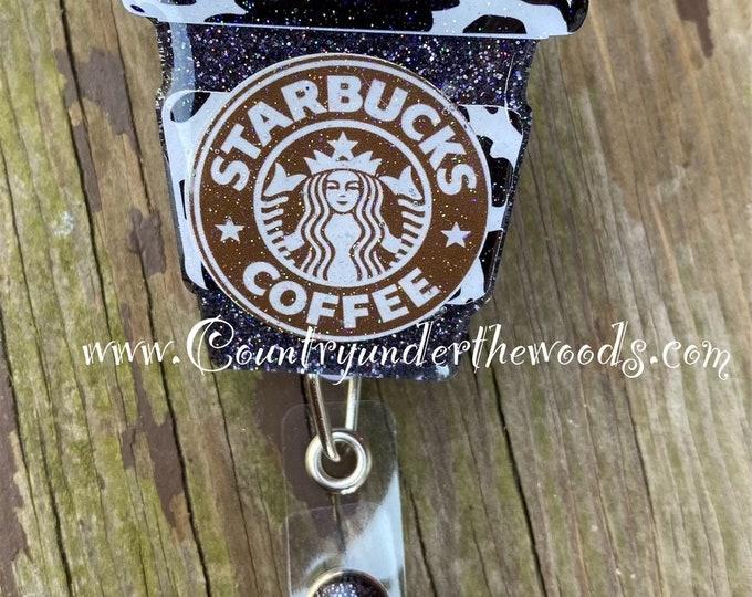 Cow Themed Coffee Cup badge reel, ID Badge Reel Clip Holder, Retractable, Nurse Badge Reel, Nurse gift, medical Badge reel,  Coffee Cup