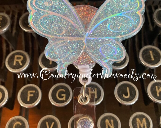 New 2021 Badge Reel, Fairy Wings, Puppy badge Reel, Grouch badge reel, Daisy Flower, Alligator clip, retractable, Acrylic, Free Shipping