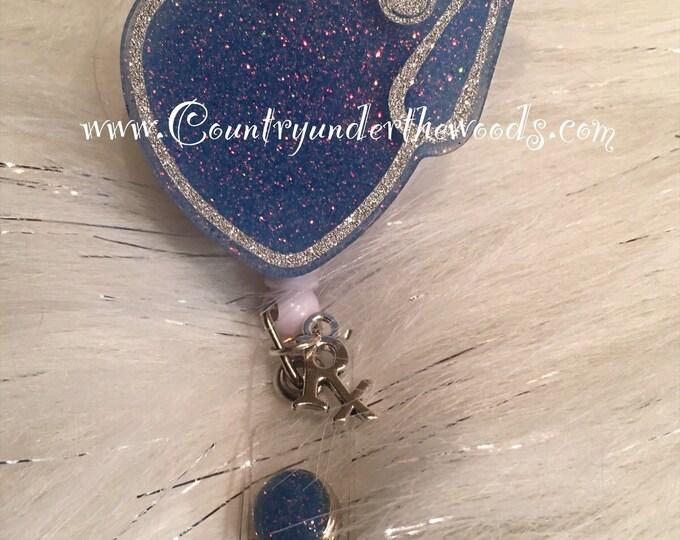 ID Badge Reel Clip Holder,Retractable,Nurse Badge Reel, Heart Stephscope Badge Reel, Nurse Badge Reel,Nurse gift