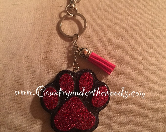 School KeyChain, Panther Paw, School Colors, ready to go , made to order, Glitter, Red and Black, Purse Bling