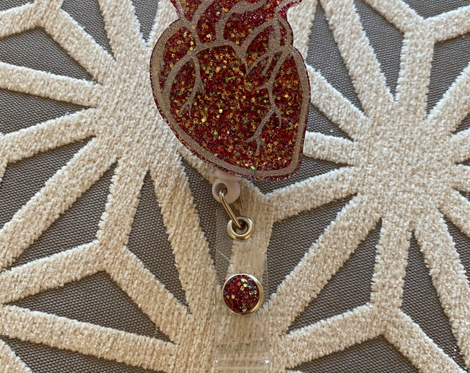Cardiac / Heart ID Badge Reel Clip Holder,Retractable,Nurse / MD Badge Reel, Heart Badge Reel, Nurse Badge Reel,Nurse gift/ Cardiologist