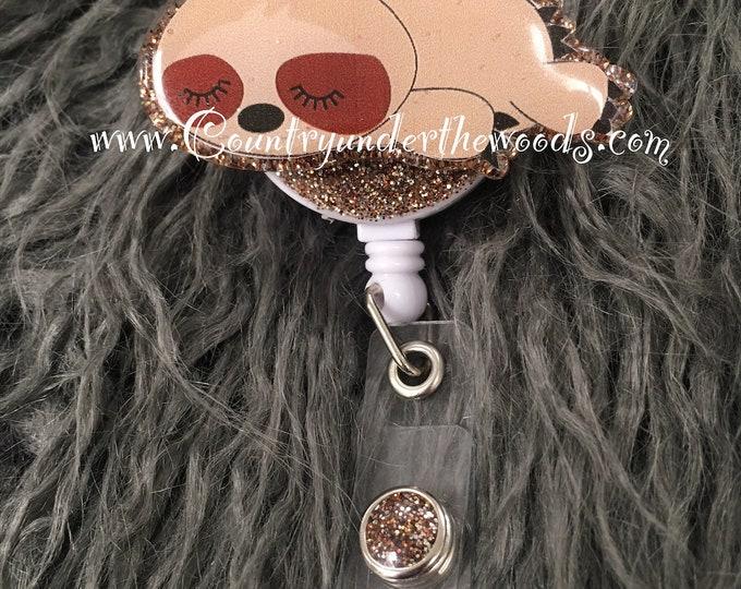 Baby Sloth, badge holder , badge reel, ID badge holder, Unqiue, Retractable badge reel , Aligator clip, Great Gift, Nurse badge reel, Sloth