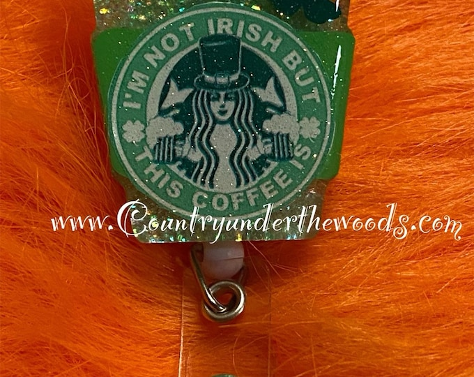 St. Patrick's Day Theme Badge Reel, Badge Reel, Retractable ID badge reel, Unique, alligator Clip, Personalize, free shipping, Zindee,