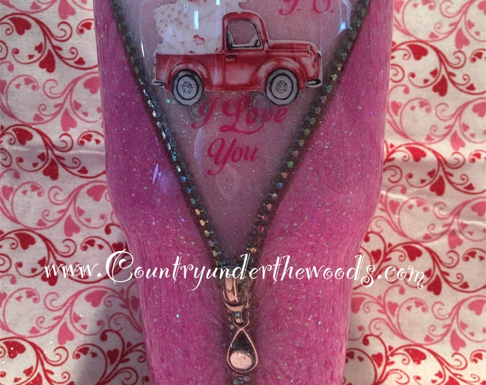 Valentine Zipper Glitter Tumbler, Old Red Truck, Made to order, Personalized, 7 Different Sizes to pick from