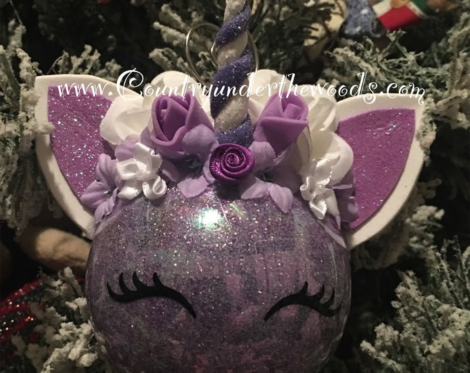Unicorn Christmas Ornament, Personalize Ornament, Baby's First Christmas Ornament, Handmade, FairyTail Decor, Unique
