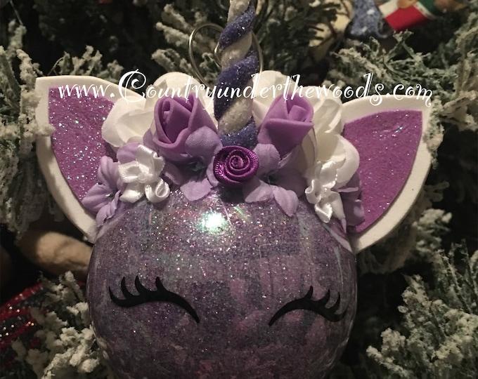 Unicorn Christmas Ornament, Personalize Ornament, Baby's First Christmas Ornament, Handmade, FairyTail Decor, Unique