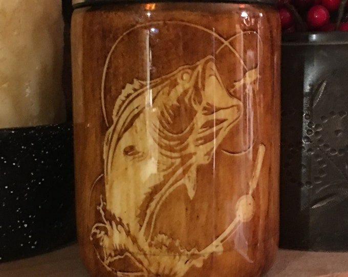 12oz Can Holder/Bass Fish/ 7 sizes to choose from/wood grain/unique/custom/personalization