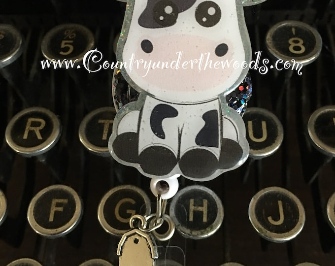 Baby Cow Badge Reel , badge holder, badge reel, ID badge holder, Unqiue, Retractable badge reel, Aligator clip, Great Gift, Nurse badge reel