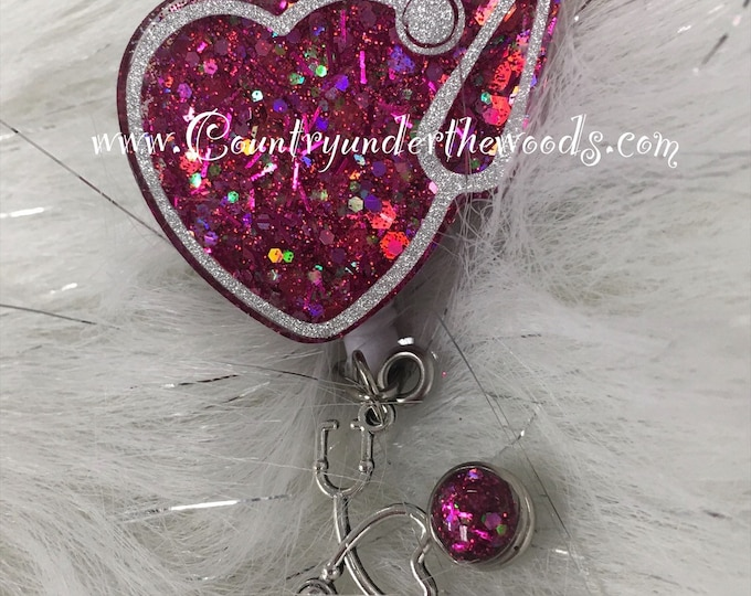 ID Badge Reel Clip Holder,Retractable,Nurse Badge Reel, Heart Stephscope Badge Reel, Nurse Badge Reel,Nurse gift