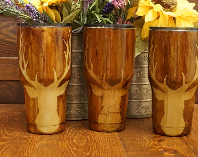 30 oz  Wood Grain Finshed Tumbler with Deer Head with Antlers Ozark Trail Tumbler/ 7 different sizes to pick from, different decals to pick