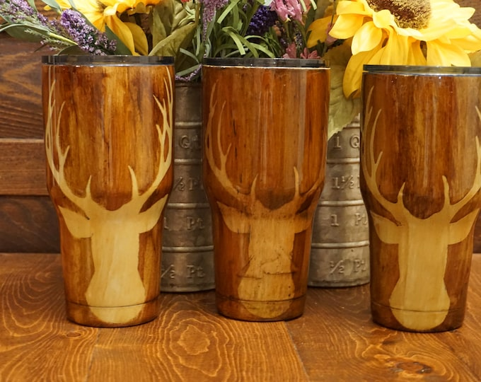 30 oz  Wood Grain Finshed Tumbler with Deer Head with Antlers Ozark Trail Tumbler/5 different sizes to pick from, different decals to pick