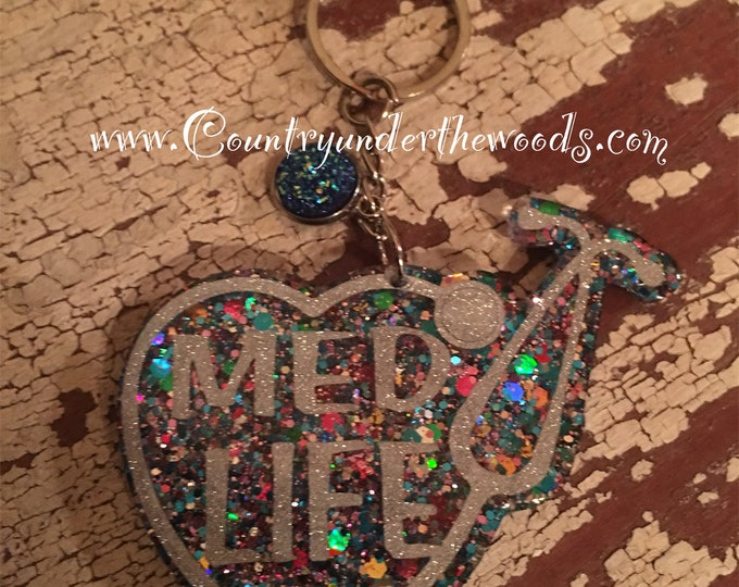 Med Life Key chains, Custom Made, Glitter, Great Gift, Handmade, Purse Bling, Personalize, Unique Gift, Nurse Keychain