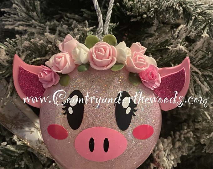 Pig Ornament, Free Shipping, Christmas Ornaments, Glitter Ornament