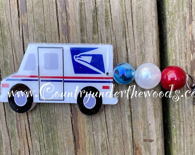 Mail Truck Beaded Key Chains, Key Chains, Great Gift, Handmade ,Unique gift, Bubblegum beads,  Zindee Acrylic Mail Truck