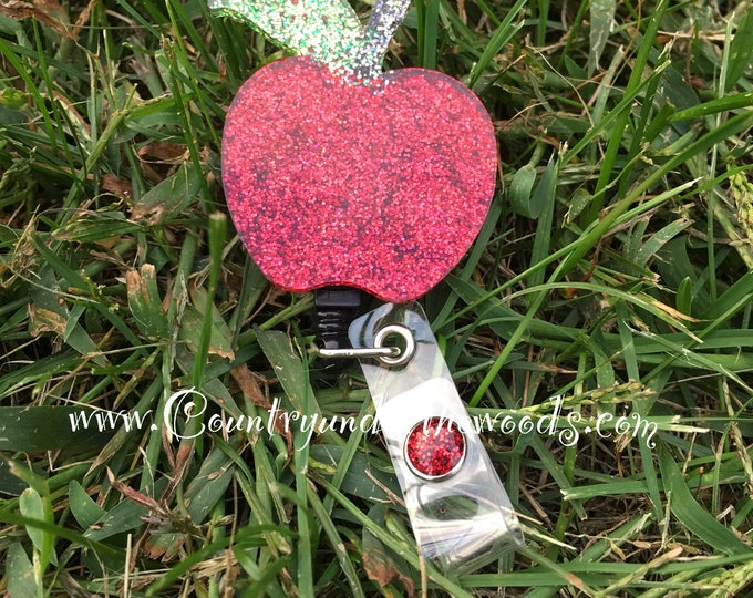 Apple Badge Reel, Teacher, personalize, Glitter, Lanyard ID holder, Unique