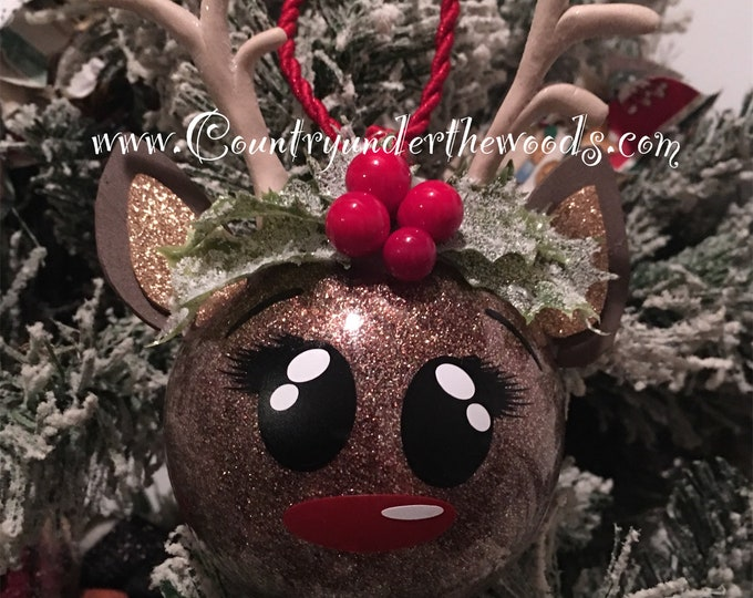 Unique Ornament, Christmas ornament,Santa's Magic Key, HandMade, Personalization, Glitter Ornament, Reindeer ornament, Snowman Ornament