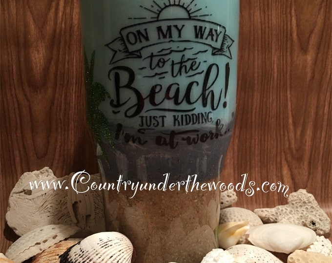 Beach theme tumbler made with real sand, different sizes, Unique, personalize, custom made to order