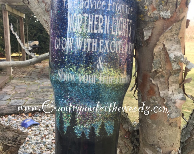 Northern Lights Tumbler, Custom, Personalize, Unique, 7 different sizes, Made to order,