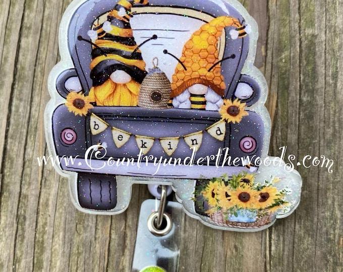 Sunflower / Bee Gnome badge reel, ID Badge Reel Clip Holder, Retractable, Nurse Badge Reel, Nurse gift, medical Badge reel, sunflower, Bee